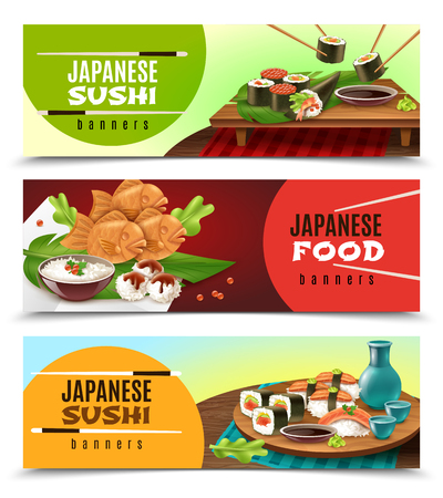 Set of horizontal banners with japanese food including sushi, sake, fish in soft dough isolated vector illustration