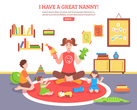Babysitter concept  with nanny children and toys in the room  flat vector illustration.