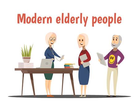 Modern elderly people composition with technology symbols cartoon vector illustration Illusztráció