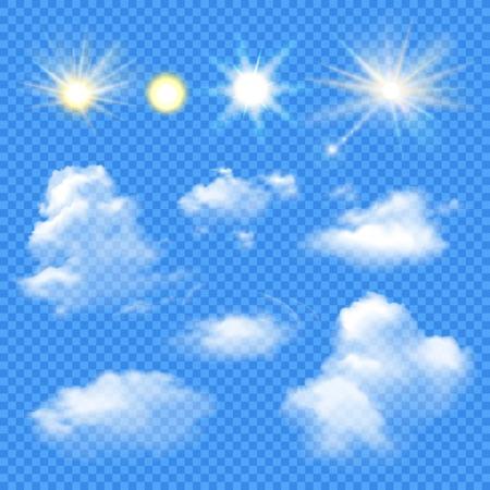 De reeks van zon in verschillende helderheid en wolken van diverse vorm op transparante achtergrond isoleerde vectorillustratie