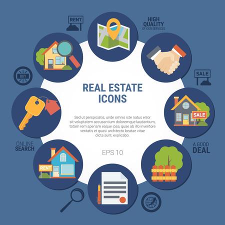Onroerende goederenconcept met contract en huissymbolen op blauwe vlakke vectorillustratie als achtergrond Stockfoto - 80974989