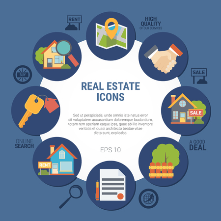 Real estate concept with contract and house symbols on blue background flat vector illustration Illustration