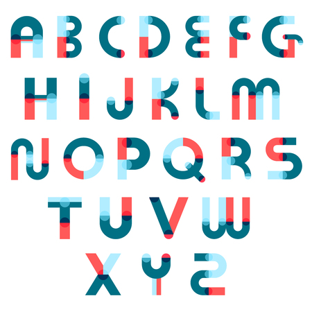 Design font alphabet cartoon constructor collection of isolated colorful latin letters with flat geometric elements vector illustration Ilustração