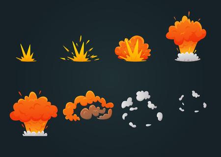 色の爆発アニメーション アイコン設定爆発プロセスと黒の背景のベクトル図をステップバイ ステップで