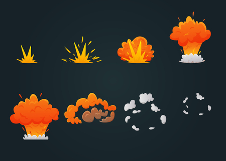 Colored explosion animation icon set with explosion process step by step on black background vector illustration Illustration