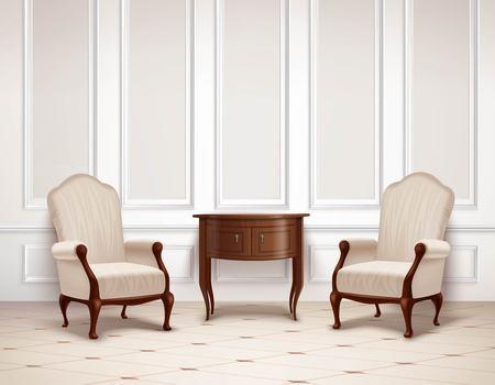 벽, 어두운 나무 테이블 및 빛 바닥 벡터 일러스트 레이 션에 안락의 자에 성형 클래식 인테리어 디자인 일러스트