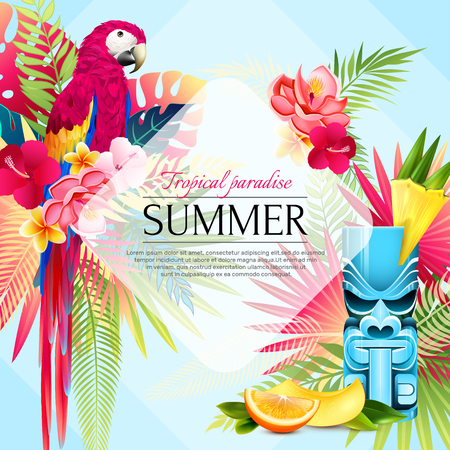 Tropical summer parrots frame poster with compositions of leaves fruit slices and birds with decorative text vector illustration Ilustração