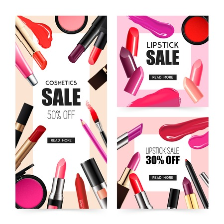 Lip, makeup accessories realistic sale banners with lipstick gloss balm liner radiant colors isolated vector illustration. Ilustração
