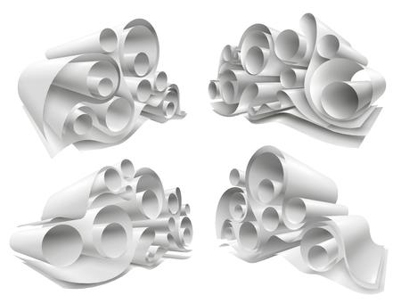 트위스트 구조에 접혀 흰색 빈 시트에서 용지 롤 세트 3d mockup isolated vector illustration
