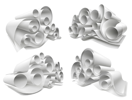Set of paper rolls from white empty sheets folded in twisted structure 3d mockup isolated vector illustration Illustration