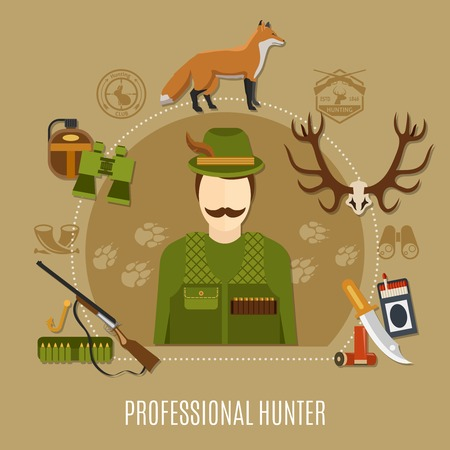 Professional hunter concept with uniform rifle and knife flat vector illustration Illustration