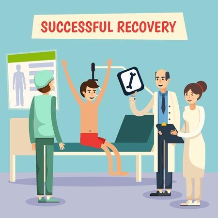 医師助手の看護師と患者のポスターと病院病棟回復を成功させるシーン フラット コミック直交ベクトル図