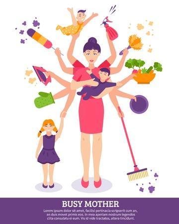 Bezig moeder concept met kinderen huishoudelijke artikelen en speelgoed platte vector illustratie Stock Illustratie