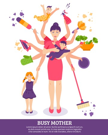 Busy mother concept with children household items and toys flat vector illustration Illustration