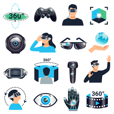 Colored isolated virtual reality visualization simulation icon set glasses with a viewing angle of three hundred and sixty degrees vector illustration