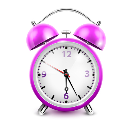 asleep: Purple alarm clock with two bells in retro style on white background realistic vector illustration