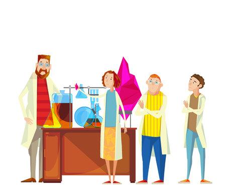 Samenstelling van leraar en studentenbeeldverhaalkarakters in het chemische laboratorium die onderzoek uitvoeren die experimenten vectorillustratie uitvoeren Stock Illustratie