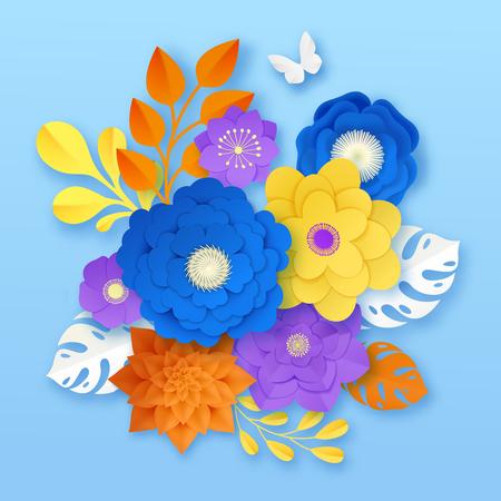 잘라 종이 꽃 파란색 배경 벡터 일러스트 레이 션에 노란색 흰색 오렌지 보라색에 손수 장식용 컴포지션 샘플