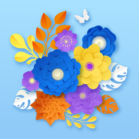 Cut paper flowers handcraft ornamental composition sample in yellow white orange purple on blue background vector illustration Ilustração