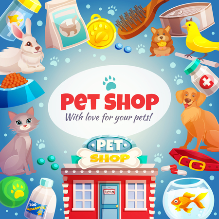 Pet shop frame with logo, animals, food and goods care, store building on blue background vector illustration