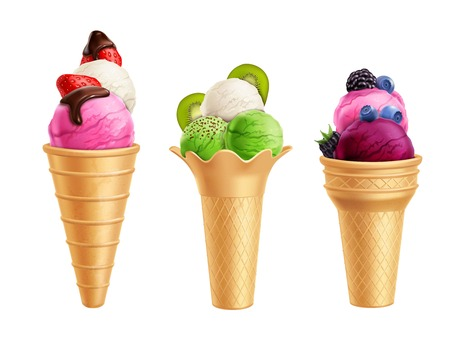 Realistic set of ice cream with fruits including strawberry, kiwi, blueberry in waffle cones isolated vector illustration Illustration