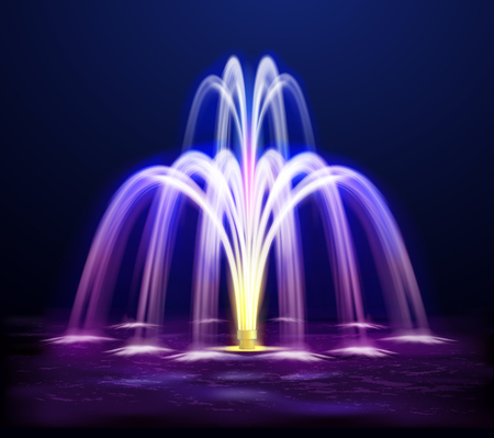 Modern lit night fountain illuminated yellow and purple color on dark background realistic vector illustration