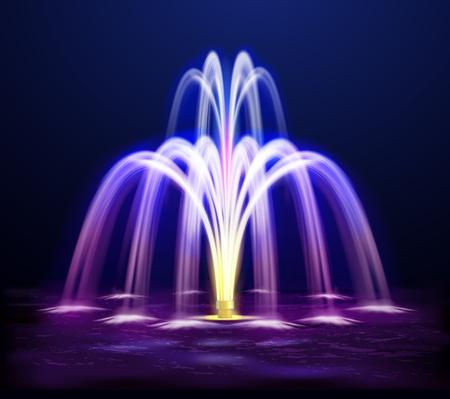 Modern lit night fountain illuminated yellow and purple color on dark background realistic vector illustration