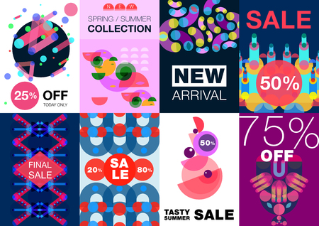 Geometric shapes poster banner set of eight creative backgrounds with abstract artwork compositions and editable text vector illustration