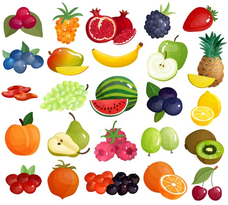 Fresh seasonal farmer market berries tropical and mediterranean delicious fruits colorful big icons collection isolated vector illustration