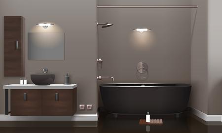 Realistic bathroom interior design with lighting, brown furniture, dark washbasin and tub, glossy floor 3d vector illustration