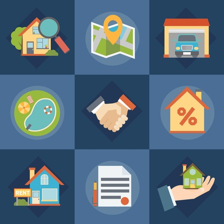 Real estate and realtors icons set with contract symbols flat isolated vector illustration