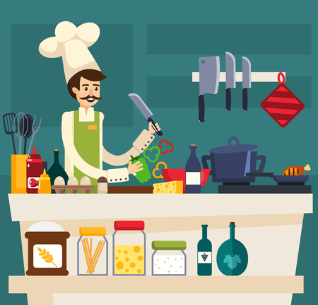 Colored cafe worker composition with the chef prepares meals in kitchen of the restaurant vector illustration Ilustração