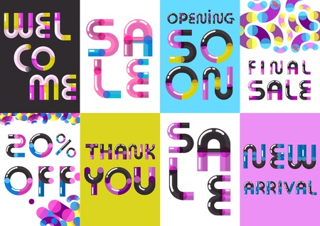 Sale advertisement 8 creative banners with calling attention conspicuous text font and colorful background isolated vector illustration Illustration