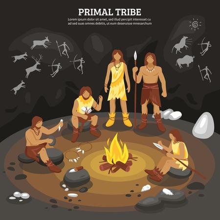 Primal stam mensen met cave painting symbolen platte vector ilustratie