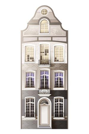 mansard 형식 다락방 바닥 벡터 일러스트와 함께 격리 된 평면 3 층 건물로 오래 된 유럽 외관 건물 조성 일러스트