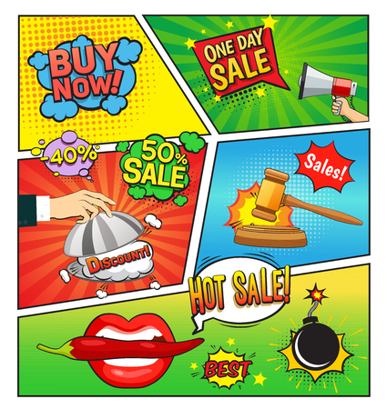 Hot sales comic book page with speech bubbles cloche gavel bomb on divided colorful background vector illustration Stok Fotoğraf - 80952547