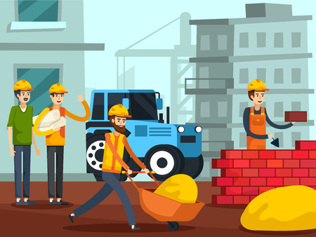 Workers with foreman on construction site building brick wall with urban houses and crane background flat vector illustration