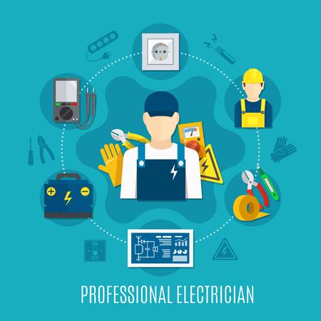 電気電圧計と作業ツールと組成のラウンド、ソケット、青い背景のベクトル図に電気回路を接続