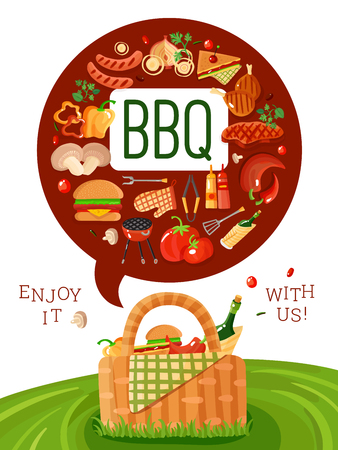 BBQ picnic invitation flat poster with barbecue accessories icons and basket on fresh green lawn  vector illustration Stock Vector - 80952951
