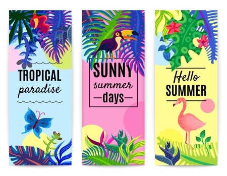 beak: Tropical paradise summer vacation 3 vertical colorful background banners set with plants flowers toucan flamingo isolated vector illustration