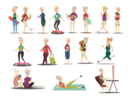 Elderly people concept icons set with travel and tourism symbols cartoon isolated vector illustration