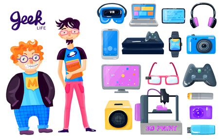 Geek life accessories cartoon icons set with 2 nerd characters gadgets loudspeaker smart watch glasses isolated vector illustration Illustration