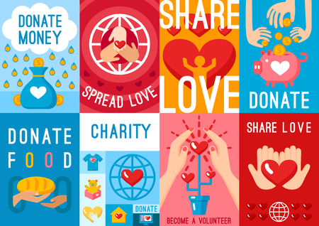 Set of eight charity donation posters with heart in people hands images spread love and share love words  flat vector illustration 向量圖像
