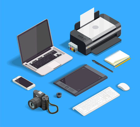 Isometric set of tools for graphic design isolated on blue background 3d vector illustration