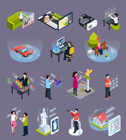 Virtual augmented reality 360 degree elements isometric icons collection with goggles visors smart phones isolated vector illustration Illustration