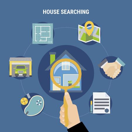Huis die concept met aankoopsymbolen zoeken op blauwe vlakke vectorillustratie als achtergrond Stock Illustratie