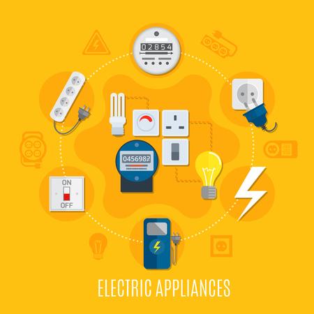 家電のラウンド ゲージ、球根を利用したデザイン、スイッチ、ソケット、黄色の背景のベクトル図に延長ケーブルを接続