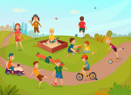 Colored kids playing composition with children on lawn have fun and play vector illustration