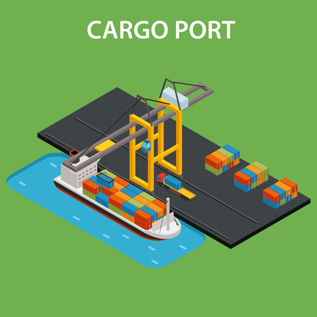 Cargo port concept with industrial ship loading isometric vector illustration