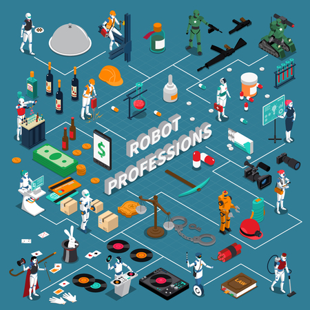 Robot professions infographics 3d layout demonstrating different applications of artificial intelligence isometric vector illustration Ilustração